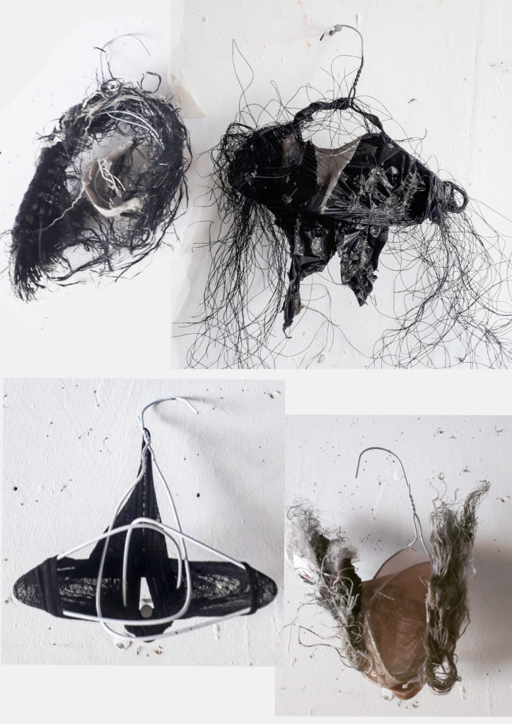 sculptures made out of wire coat hangers and recycled materials such as tights and plastic bags